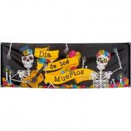 Bannière Dia de Los Muertos (2,20 m) - Tissu