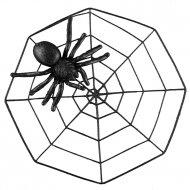 Araignée 3D sur sa toile (43 cm) - Noir Glitter