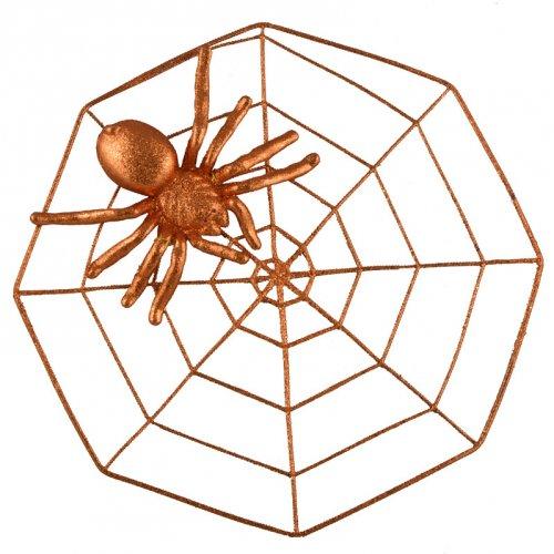 Araignée 3D sur sa Toile (43 cm) - Orange Glitter