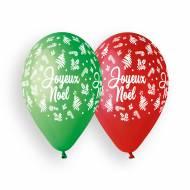 10 Ballons Joyeux Noël - Rouge et Vert