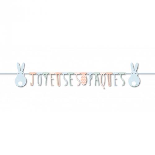 Guirlande Joyeuses Pâques Lapins Pastels (1,60 m)