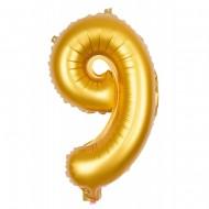 Ballon d'Anniversaire Géant Chiffre 9 Or (100 cm)