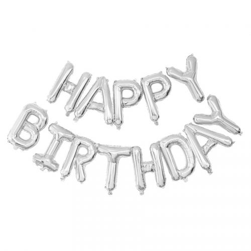 Ballon Happy Birthday Argent (305 cm)