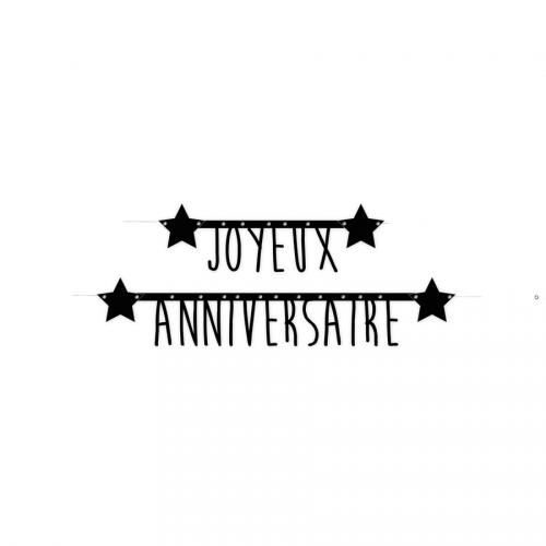 Guirlande Joyeux Anniversaire - Lettres Noires