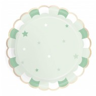 8 Assiettes Vert Pastel - Etoiles
