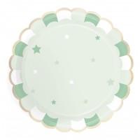 Contient : 1 x 8 Assiettes Vert Pastel - Etoiles