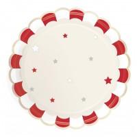 Contient : 1 x 8 Assiettes Festonnées Rouge