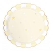 Contient : 1 x 8 Assiettes Festonnées - Jaune Pastel