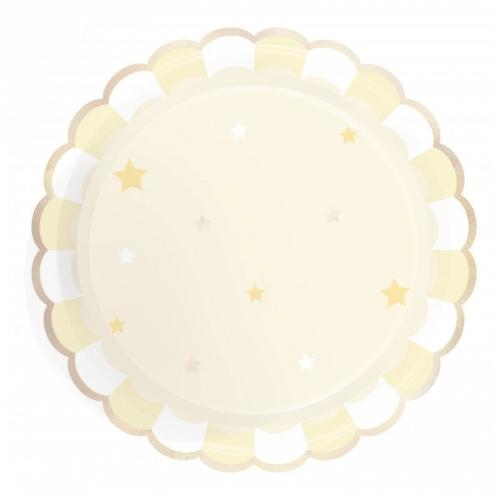 8 Assiettes Festonnées - Jaune Pastel