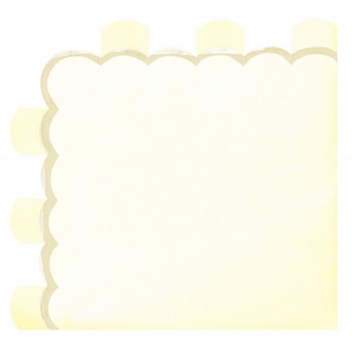 16 Serviettes Festonnées Jaune Pastel