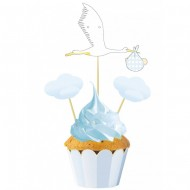 3 Cake Toppers - Baby Blue