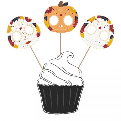 3 Cake Toppers - Dia De Los Muertos