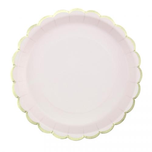 8 Assiettes Festonnées Rose Pastel et Or