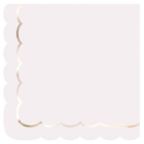 16 Serviettes Festonnées Rose Pastel et Or
