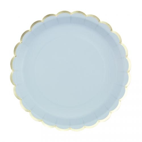 8 Assiettes Festonnées Bleu Pastel et Or