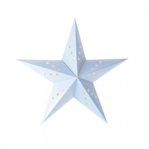 Lanterne Etoile Bleu Pastel - 30 cm