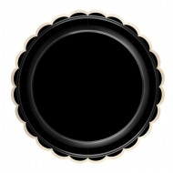 8 Assiettes Festonnées Noir et Or