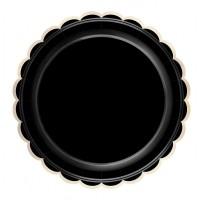 Contient : 1 x 8 Assiettes Festonnées Noir et Or
