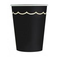 Contient : 1 x 8 Gobelets Festonnées Noir et Or