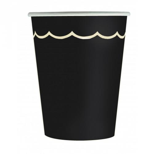8 Gobelets Festonnées Noir et Or