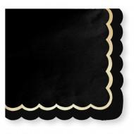 16 Serviettes Festonnées Noir et Or