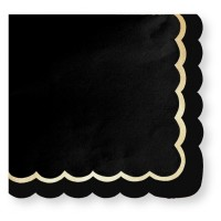 Contient : 1 x 16 Serviettes Festonnées Noir et Or