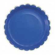 8 Assiettes Festonnées Bleu et Or