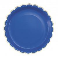 Contient : 1 x 8 Assiettes Festonnées Bleu et Or