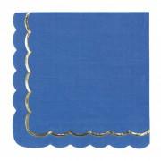 16 Serviettes Festonnées Bleu et Or