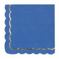 Contient : 1 x 16 Serviettes Festonnées Bleu et Or