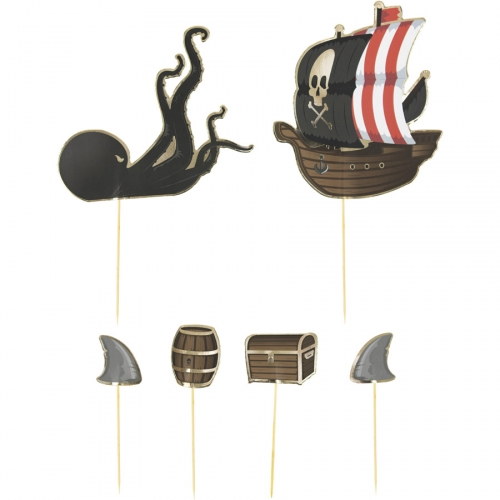 6 Cake Toppers - Pirate