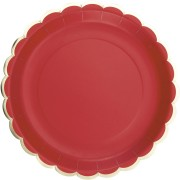 8 Assiettes Festonnées Rouge et Or