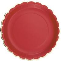 Contient : 1 x 8 Assiettes Festonnées Rouge et Or