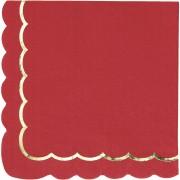 16 Serviettes Festonnées Rouge et Or
