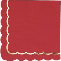Contient : 1 x 16 Serviettes Festonnées Rouge et Or