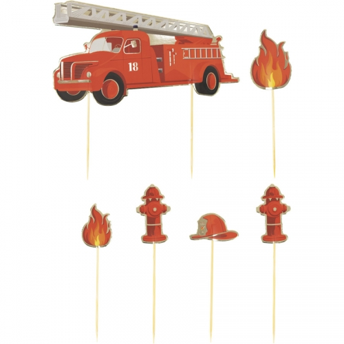 6 Cake Toppers - Pompiers