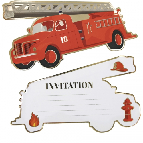 8 Invitations - Pompiers
