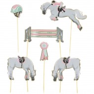 6 Cake Toppers - Cheval d'Amour