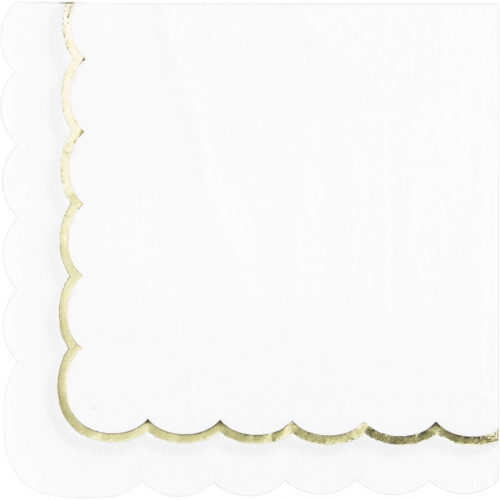 16 Serviettes Festonnées Blanc et Or