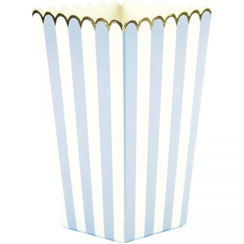 8 Boîtes à Popcorn Bleu Pastel/Blanc/Or