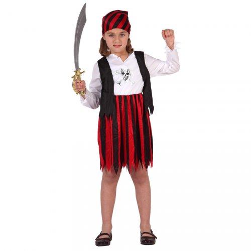 Déguisement de Corsaire Fille Noir et Rouge