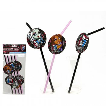 8 Pailles avec logo Monster High 2