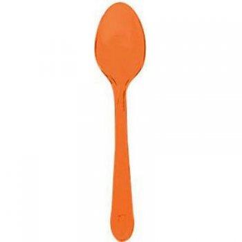 10 Cuillères Plastique Translucide Orange