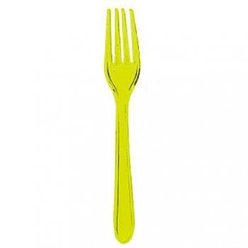 10 Fourchettes Plastique Translucide Vert Jaune Fluo