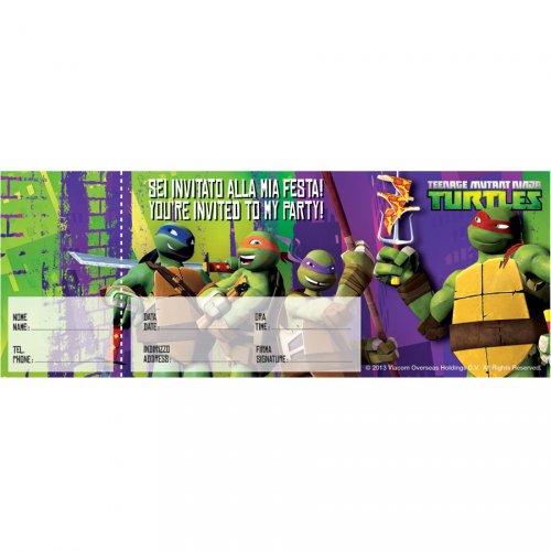 Carnet de 20 Invitations Tortue Ninja 2