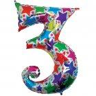 Ballon chiffre multicolore 3