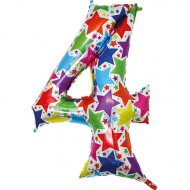 Ballon chiffre multicolore 4