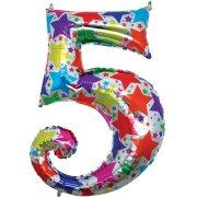 Ballon chiffre multicolore 5