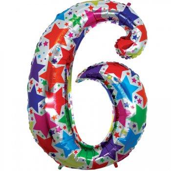 Ballon chiffre multicolore 6