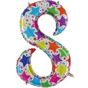 Ballon chiffre multicolore 8
